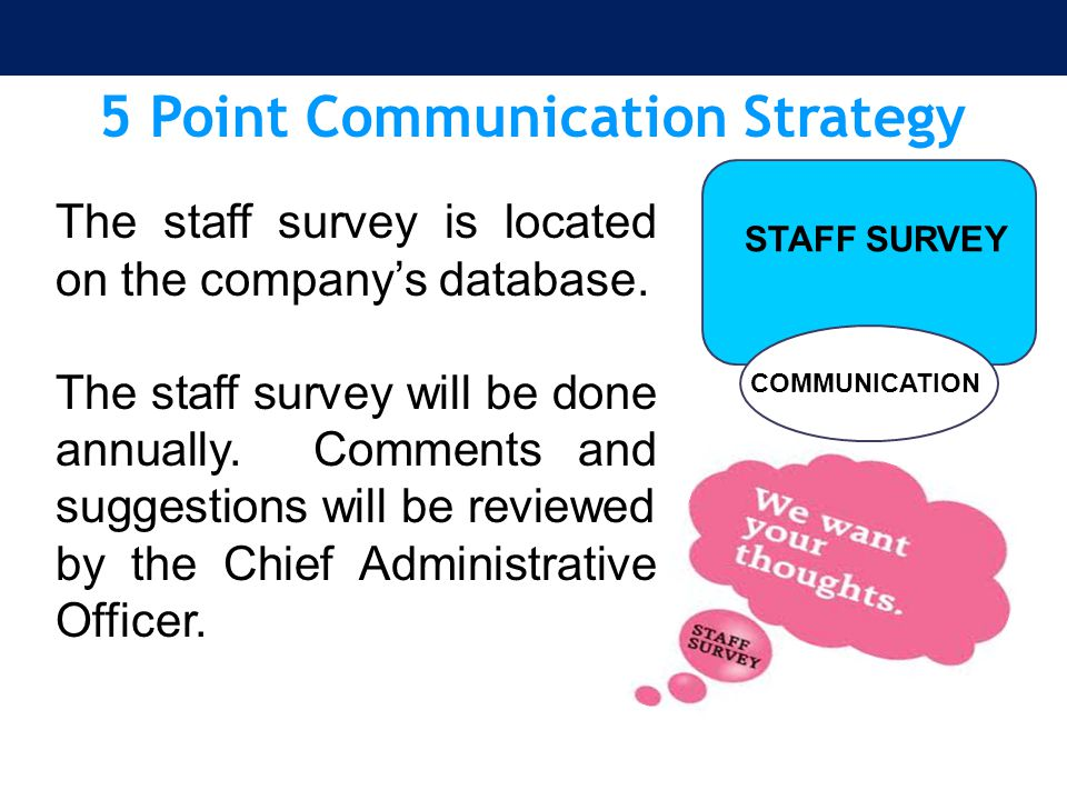 5 Point Communication Strategy COMMUNICATION STAFF SURVEY The staff survey is located on the company's database. The staff survey will be done annuall