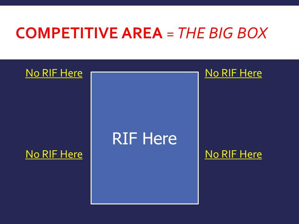 COMPETITIVE AREA = THE BIG BOX No RIF HereNo RIF Here RIF Here