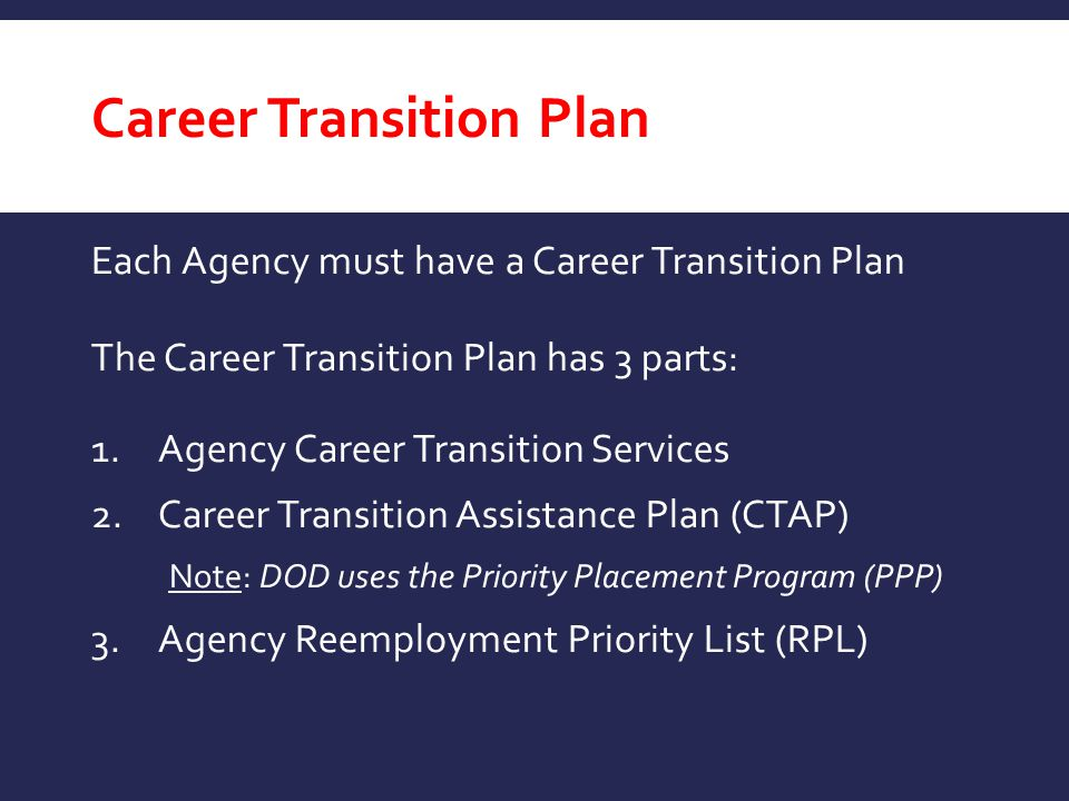Career Transition Plan Each Agency must have a Career Transition Plan The Career Transition Plan has 3 parts: 1.