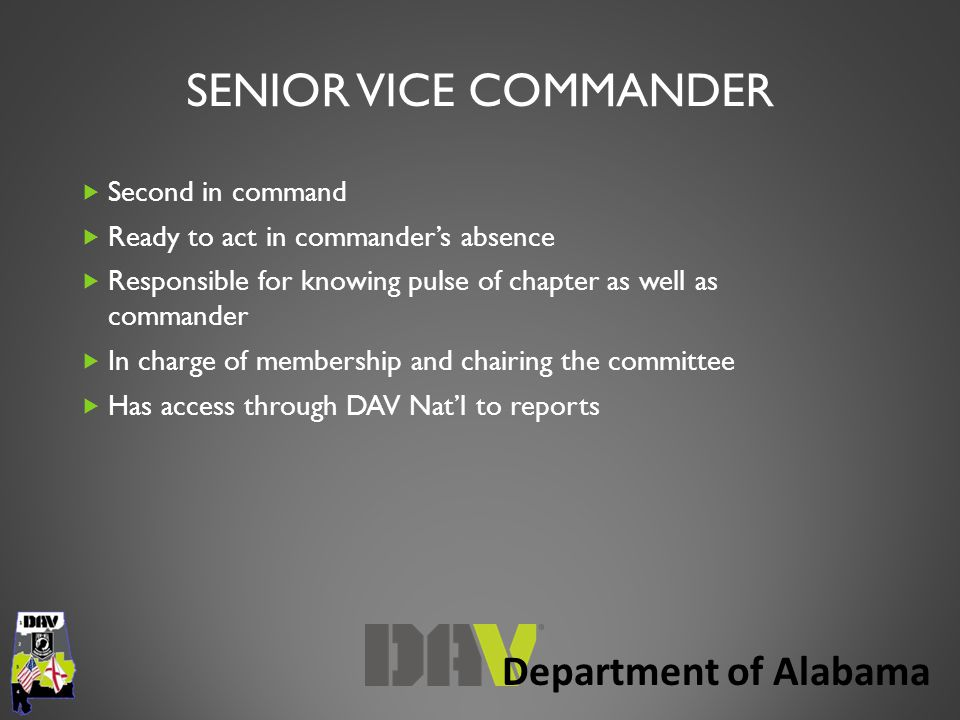 Department of Alabama SENIOR VICE COMMANDER  Second in command  Ready to act in commander's absence  Responsible for knowing pulse of chapter as well as commander  In charge of membership and chairing the committee  Has access through DAV Nat'l to reports