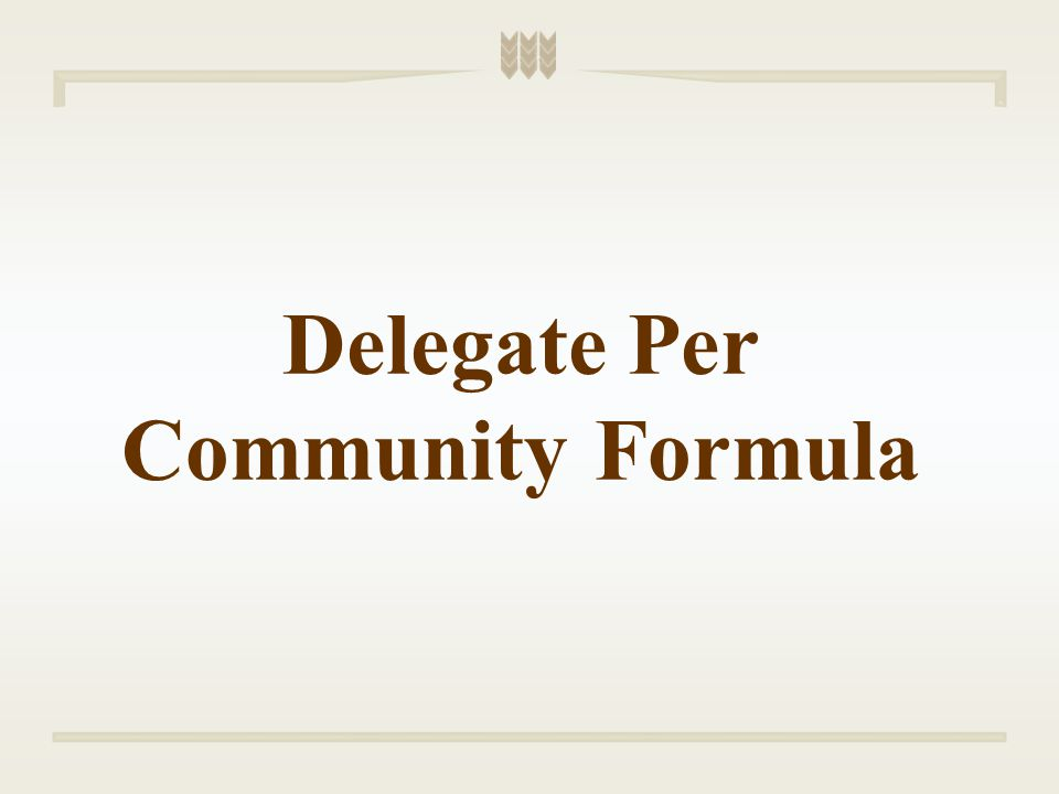 Delegate Per Community Formula