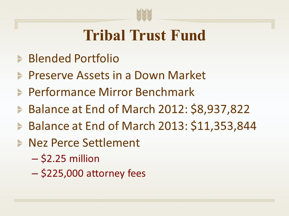 Nez Perce Settlement Not a windfall! Money Tlingit Haida would have earned had our funds been properly managed by the government.