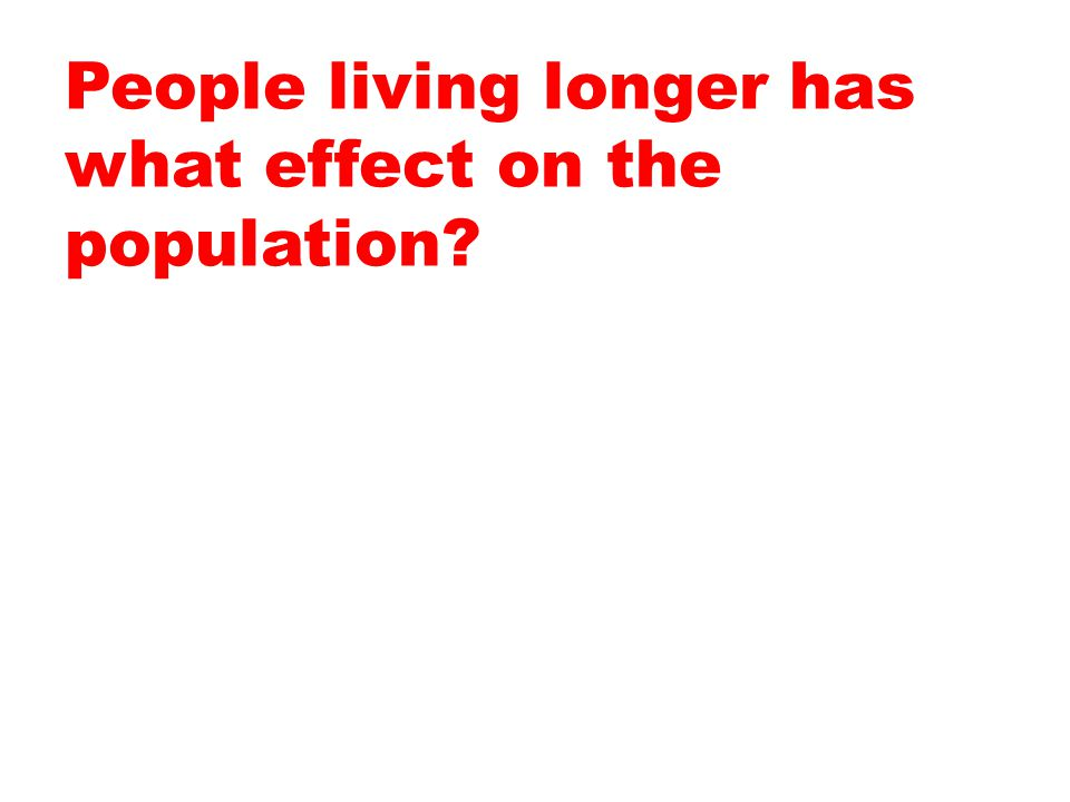 People living longer has what effect on the population