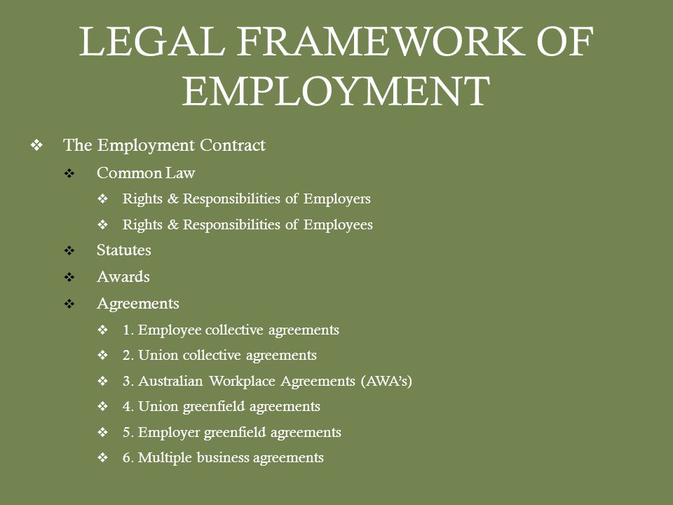 LEGAL FRAMEWORK OF EMPLOYMENT  The Employment Contract  Common Law  Rights & Responsibilities of Employers  Rights & Responsibilities of Employees  Statutes  Awards  Agreements  1.