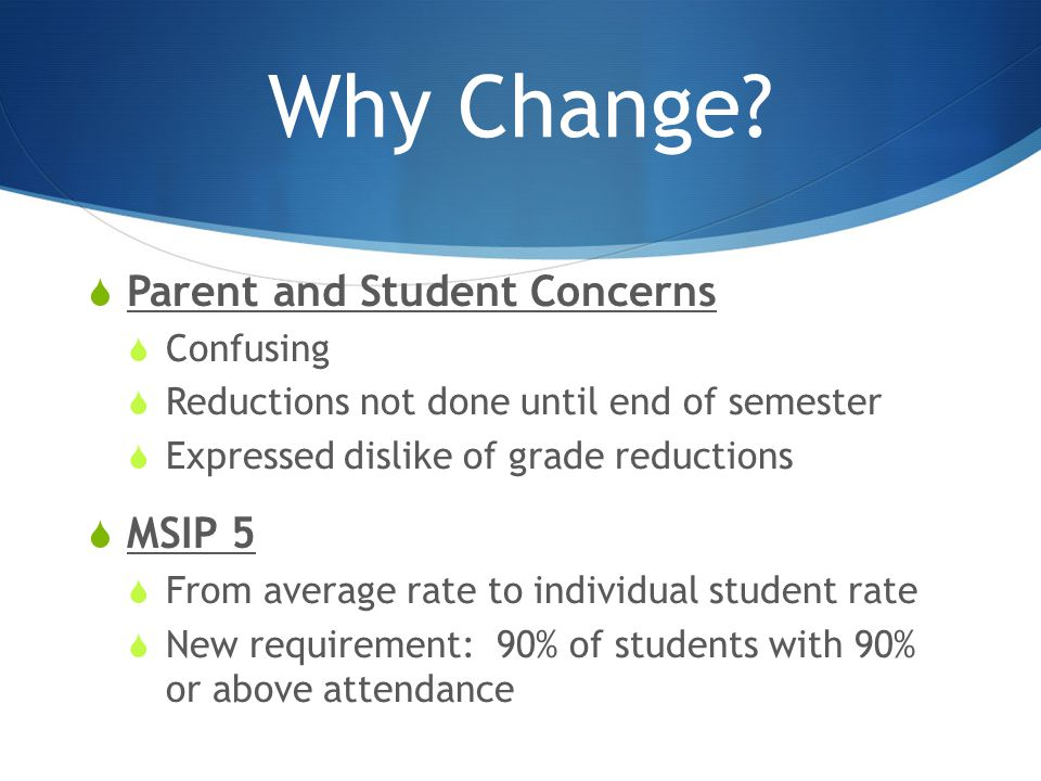 Why Change?  Parent and Student Concerns  Confusing  Reductions not done until end of semester  Expressed dislike of grade reductions  MSIP 5  F