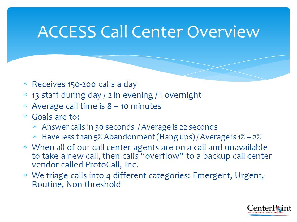  Receives 150-200 calls a day  13 staff during day / 2 in evening / 1 overnight  Average call time is 8 – 10 minutes  Goals are to:  Answer calls