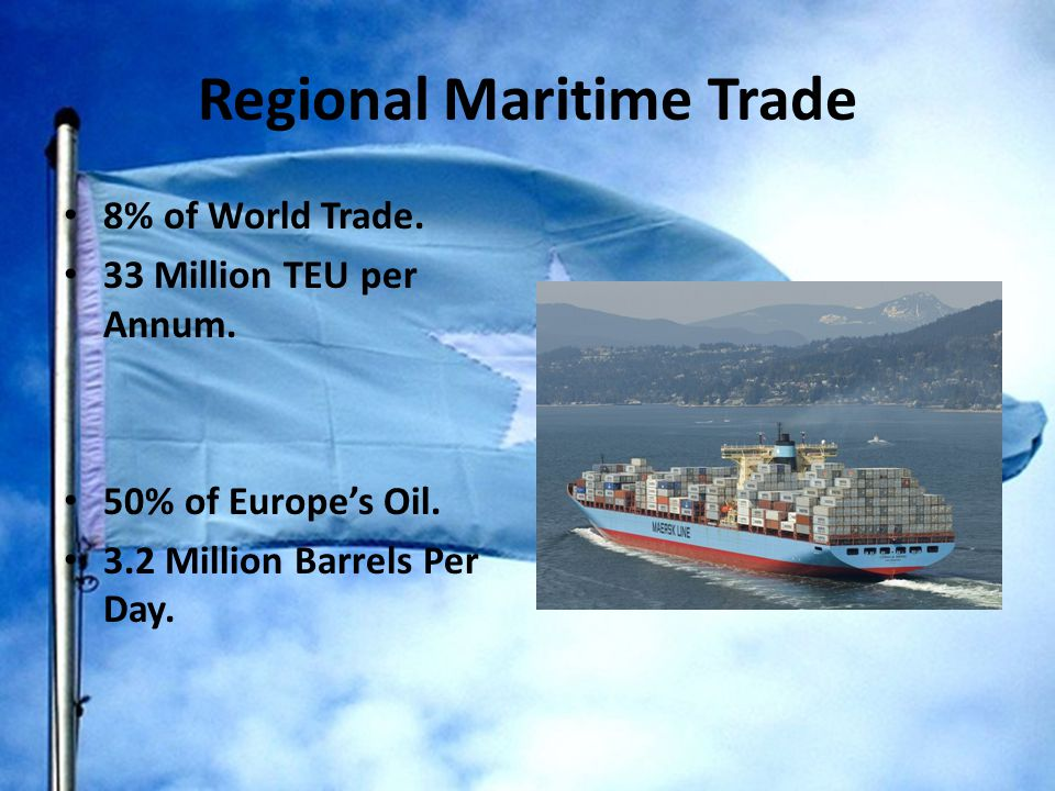 Regional Maritime Trade 8% of World Trade. 33 Million TEU per Annum.