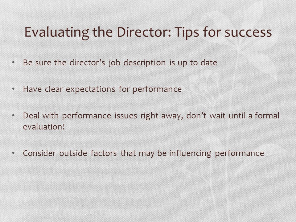 Evaluating the Director: Tips for success Be sure the director's job description is up to date Have clear expectations for performance Deal with performance issues right away, don't wait until a formal evaluation.