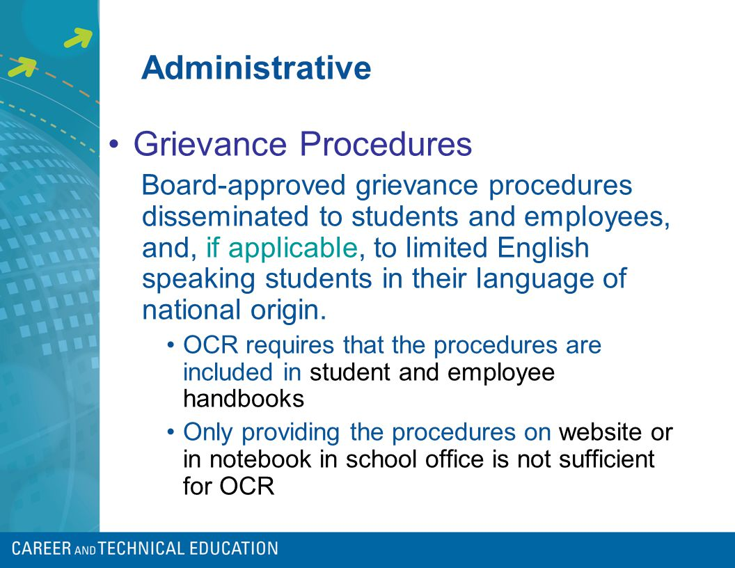 Administrative Grievance Procedures Board-approved grievance procedures disseminated to students and employees, and, if applicable, to limited English speaking students in their language of national origin.