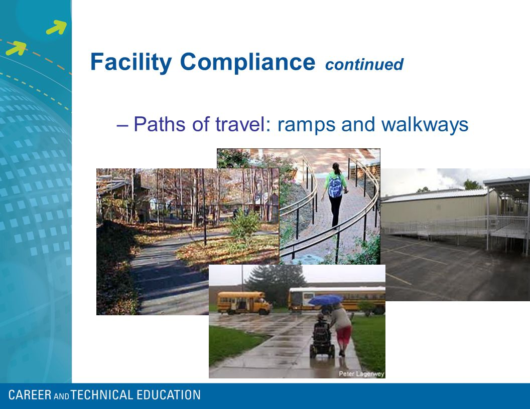 Facility Compliance continued –Paths of travel: ramps and walkways