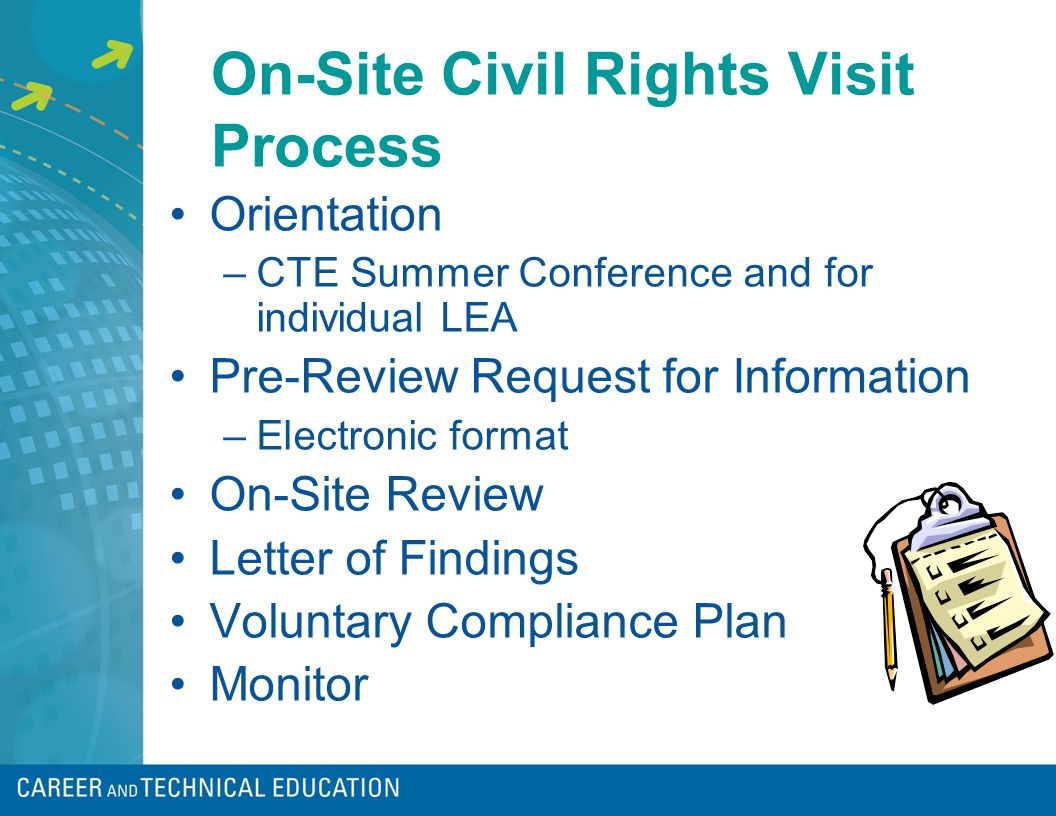 On-Site Civil Rights Visit Process Orientation –CTE Summer Conference and for individual LEA Pre-Review Request for Information –Electronic format On-Site Review Letter of Findings Voluntary Compliance Plan Monitor