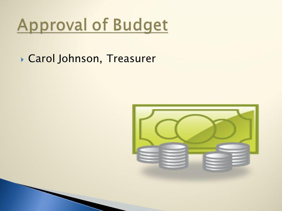 Carol Johnson, Treasurer