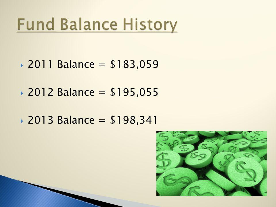  2011 Balance = $183,059  2012 Balance = $195,055  2013 Balance = $198,341