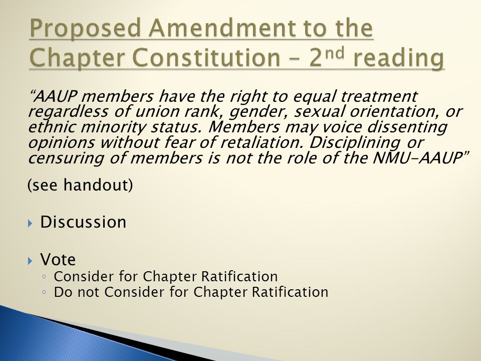 AAUP members have the right to equal treatment regardless of union rank, gender, sexual orientation, or ethnic minority status.