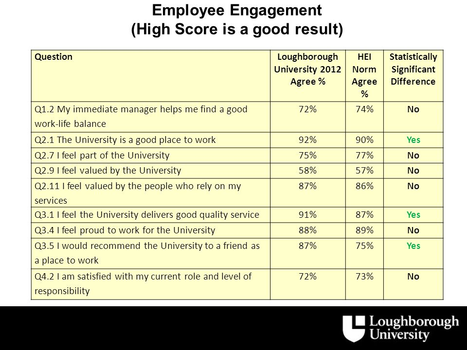 Employee Engagement (High Score is a good result) QuestionLoughborough University 2012 Agree % HEI Norm Agree % Statistically Significant Difference Q1.2 My immediate manager helps me find a good work-life balance 72%74%No Q2.1 The University is a good place to work92%90%Yes Q2.7 I feel part of the University75%77%No Q2.9 I feel valued by the University58%57%No Q2.11 I feel valued by the people who rely on my services 87%86%No Q3.1 I feel the University delivers good quality service91%87%Yes Q3.4 I feel proud to work for the University88%89%No Q3.5 I would recommend the University to a friend as a place to work 87%75%Yes Q4.2 I am satisfied with my current role and level of responsibility 72%73%No