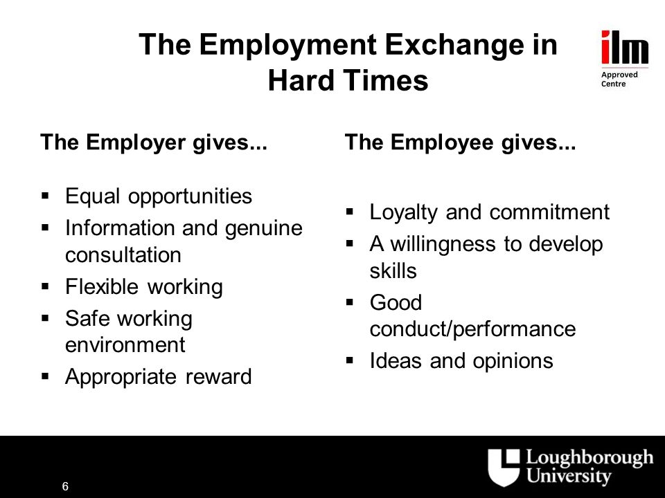The Employment Exchange in Hard Times The Employer gives...