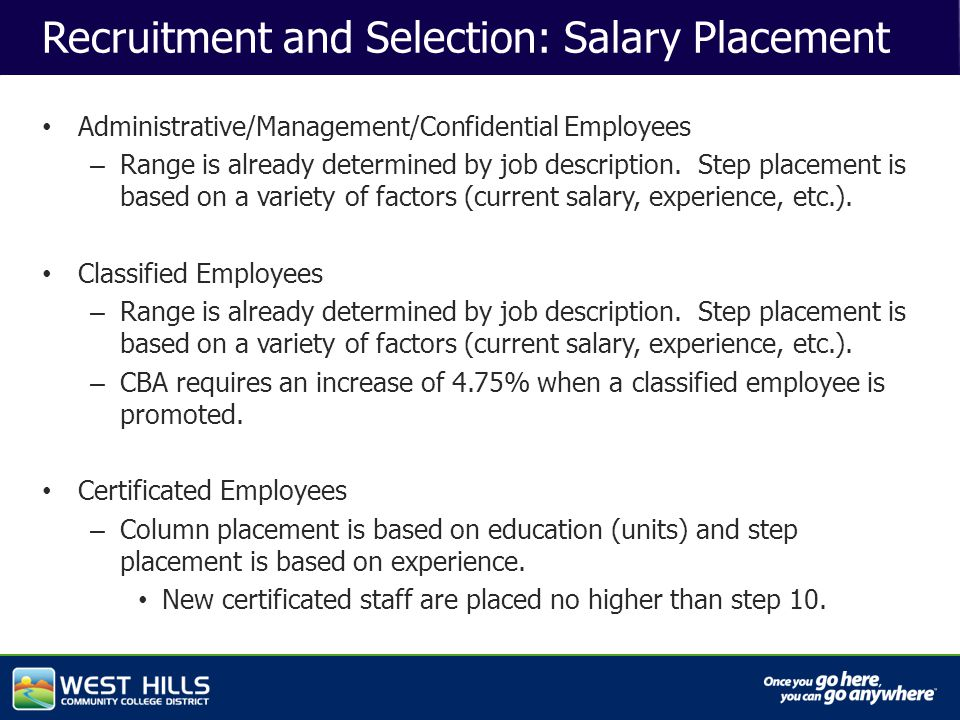 Capital Investments Recruitment and Selection: Salary Placement Administrative/Management/Confidential Employees – Range is already determined by job description.