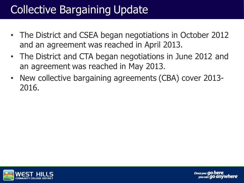 Capital Investments Collective Bargaining Update The District and CSEA began negotiations in October 2012 and an agreement was reached in April 2013.