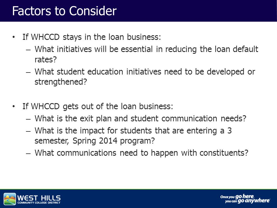 Capital Investments Factors to Consider If WHCCD stays in the loan business: – What initiatives will be essential in reducing the loan default rates.