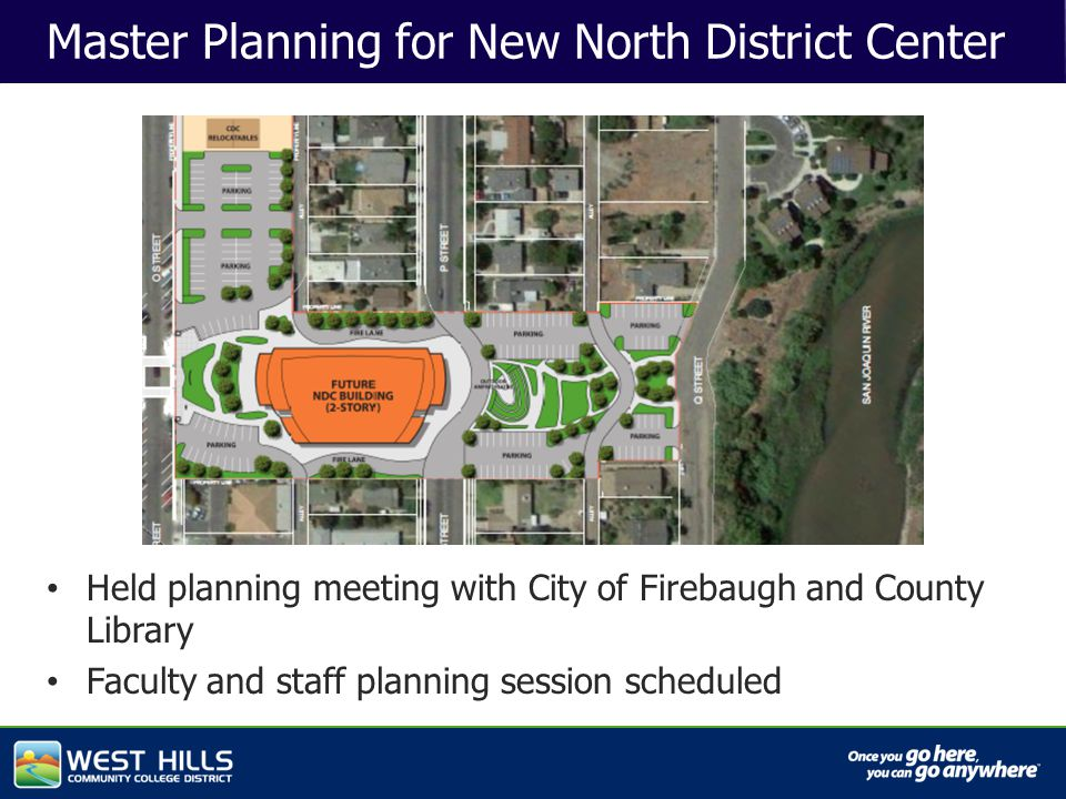 Capital Investments Master Planning for New North District Center Held planning meeting with City of Firebaugh and County Library Faculty and staff planning session scheduled