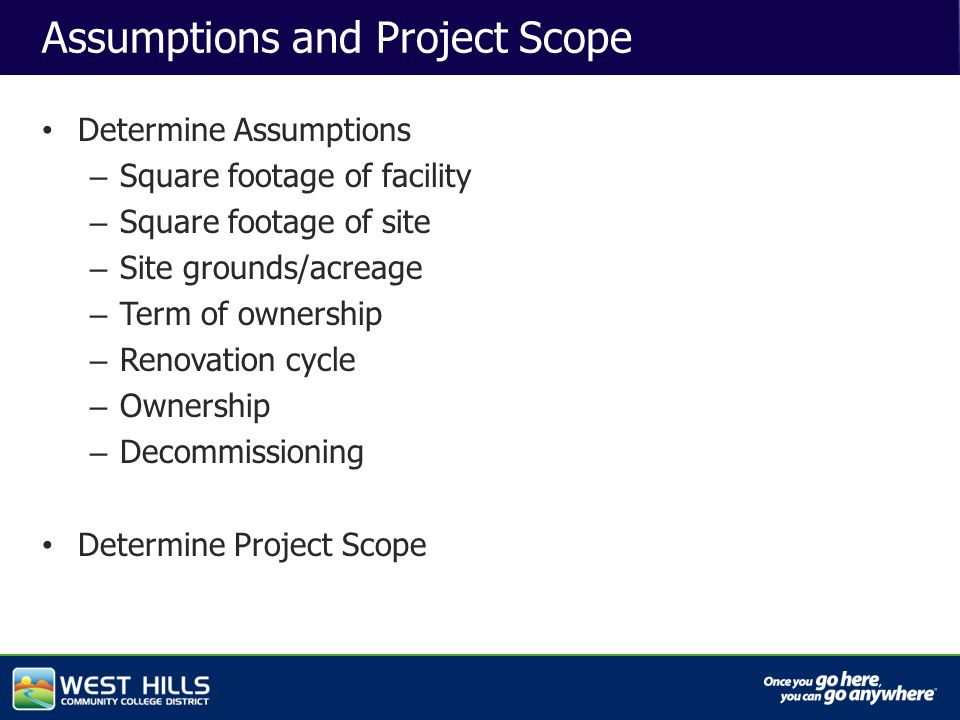 Capital Investments Assumptions and Project Scope Determine Assumptions – Square footage of facility – Square footage of site – Site grounds/acreage – Term of ownership – Renovation cycle – Ownership – Decommissioning Determine Project Scope