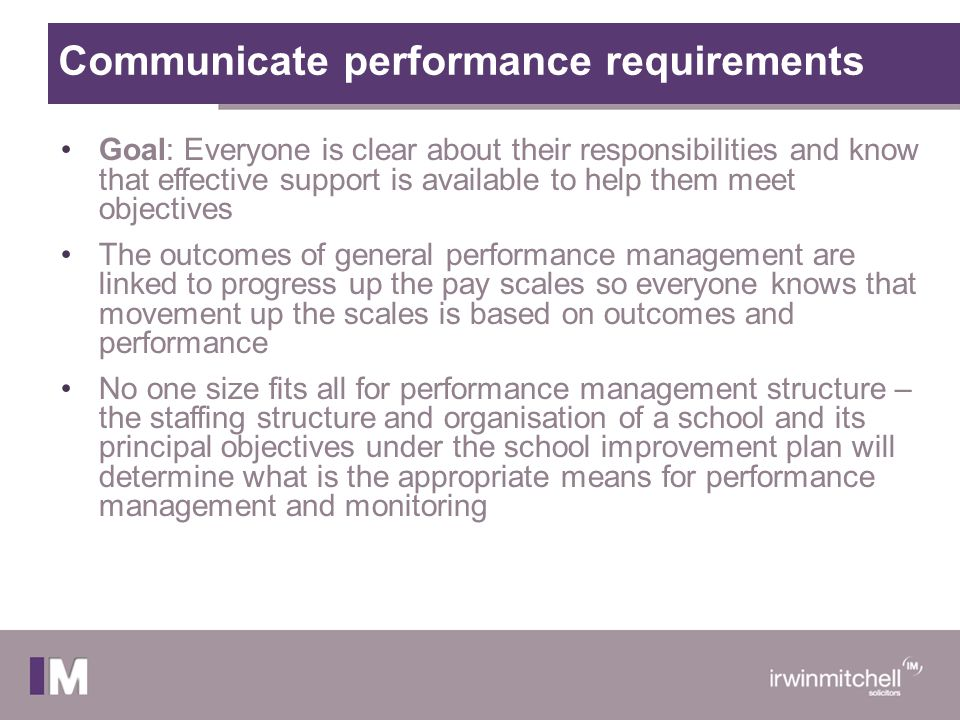 Communicate performance requirements Goal: Everyone is clear about their responsibilities and know that effective support is available to help them me