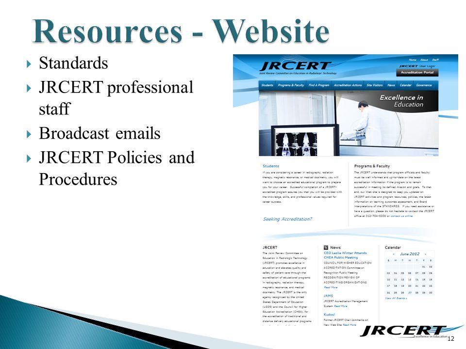 12  Standards  JRCERT professional staff  Broadcast emails  JRCERT Policies and Procedures