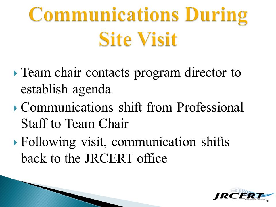  Team chair contacts program director to establish agenda  Communications shift from Professional Staff to Team Chair  Following visit, communicati