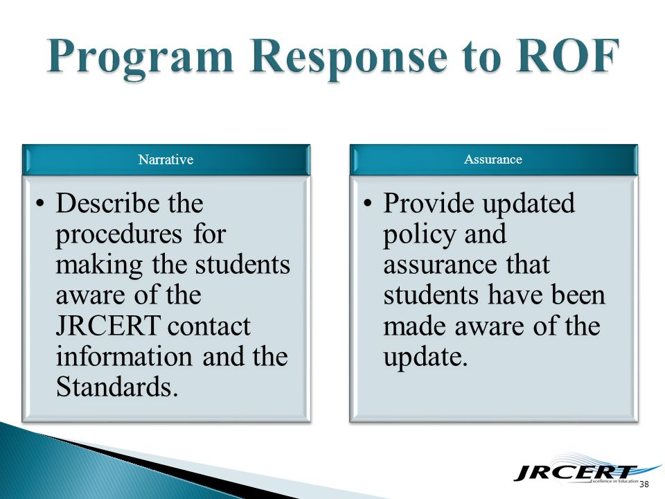 38 Narrative Describe the procedures for making the students aware of the JRCERT contact information and the Standards. Assurance Provide updated poli