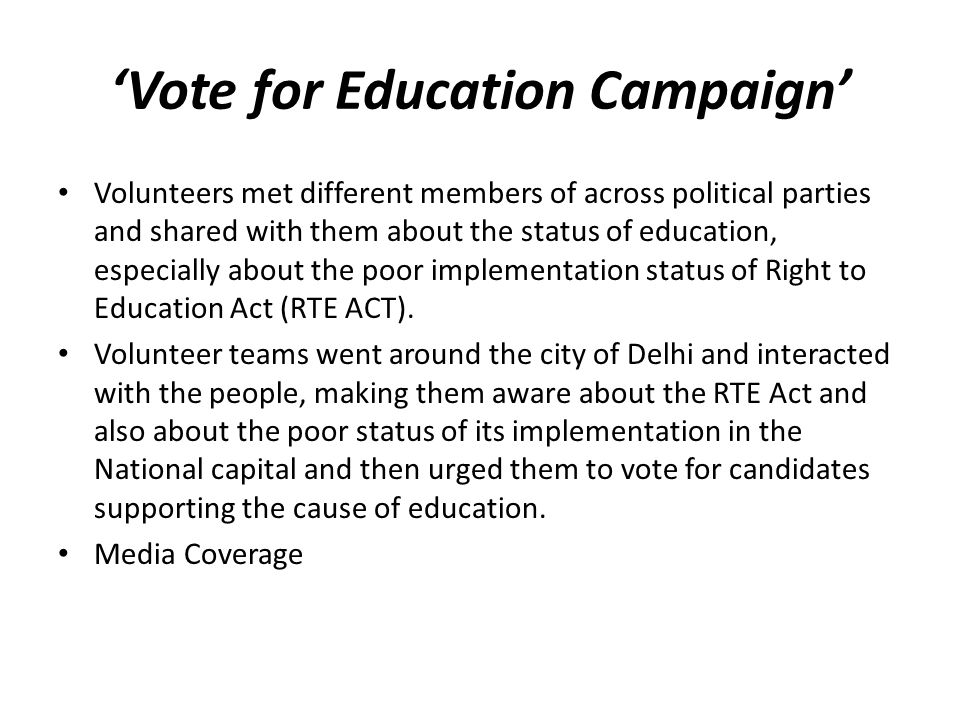 'Vote for Education Campaign' Volunteers met different members of across political parties and shared with them about the status of education, especially about the poor implementation status of Right to Education Act (RTE ACT).