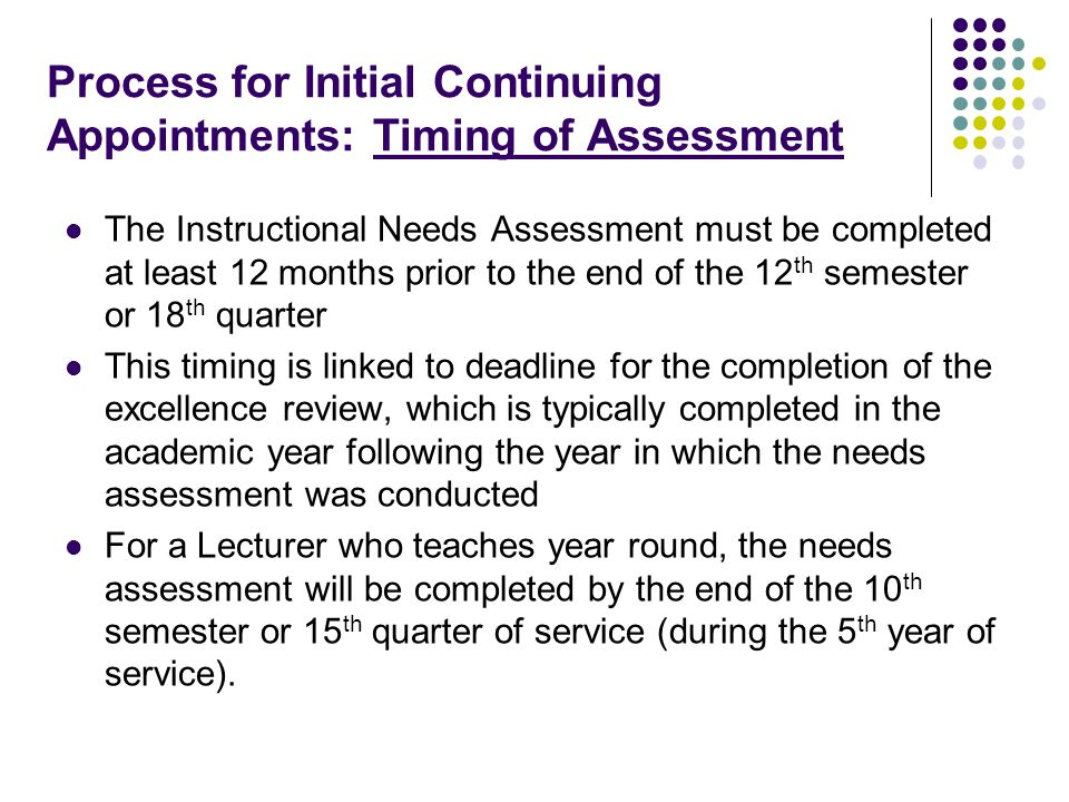 Process for Initial Continuing Appointments: Timing of Assessment The Instructional Needs Assessment must be completed at least 12 months prior to the