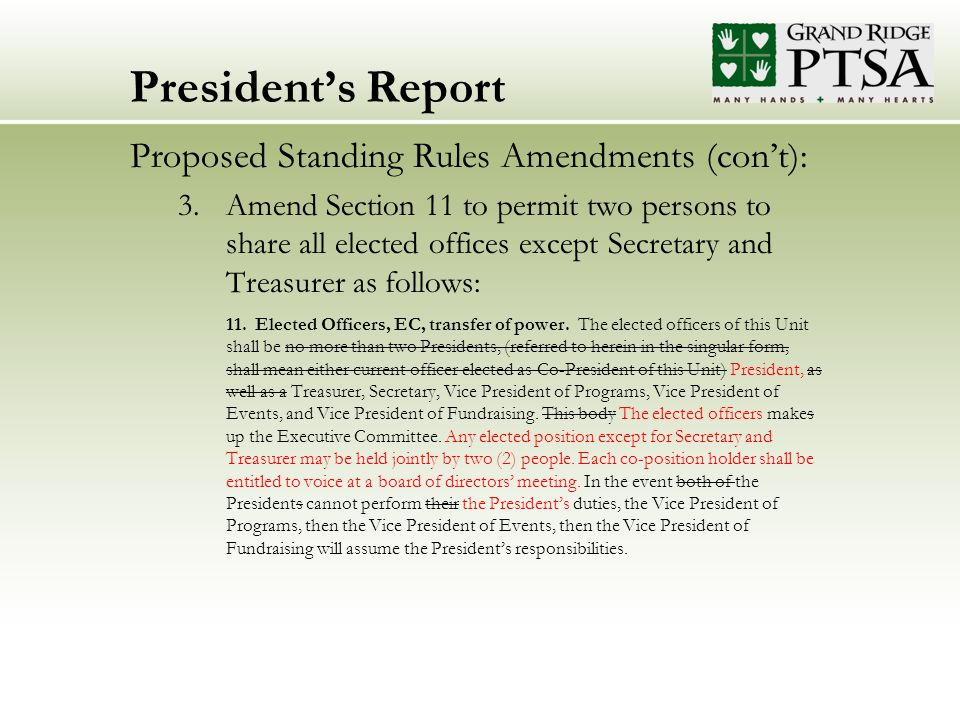 President's Report Proposed Standing Rules Amendments (con't): 3.Amend Section 11 to permit two persons to share all elected offices except Secretary and Treasurer as follows: 11.