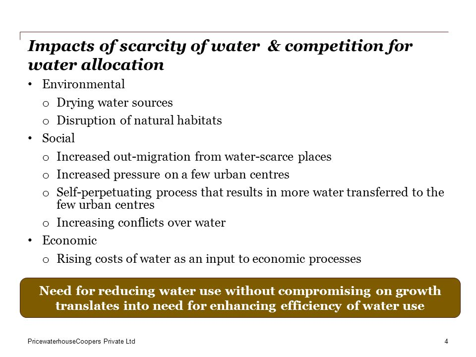 PricewaterhouseCoopers Private Ltd Local Challenges 1.Rapid urbanisation entails challenges at policy and operational levels 2.Policy-level challenges: allocation of roles and responsibilities, accountability structure, and grievance redressal mechanism (e.g., rural-urban & agri-industrial water transfers emerging as key conflict areas) 3.Operational challenges: managing groundwater extraction, efficiency of water use, and water allocation 4.Reforms addressing devolution of responsibilities need to be accompanied by ring-fencing, and appropriate financial authority to the municipal authorities 5.Accountability relationships are not well-established, leaving scope for over-politicisation of issues rather than the issues being addressed October 2013 Gurgaon First Slide 5
