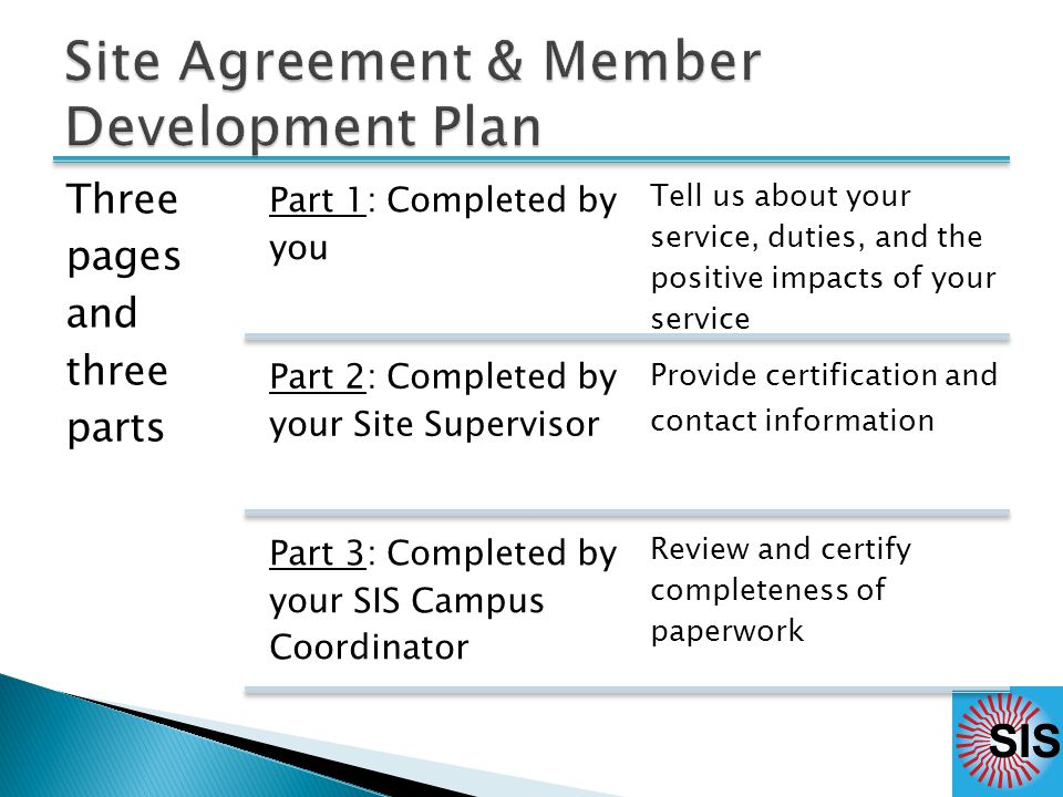 Three pages and three parts Part 1: Completed by you Tell us about your service, duties, and the positive impacts of your service Part 2: Completed by your Site Supervisor Provide certification and contact information Part 3: Completed by your SIS Campus Coordinator Review and certify completeness of paperwork