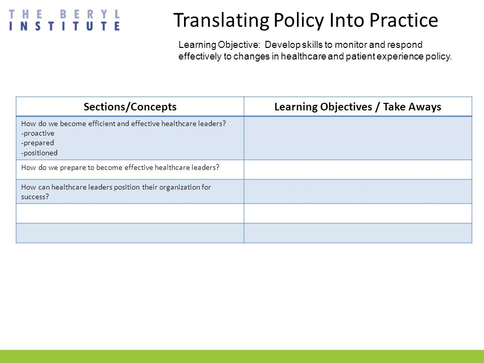 Translating Policy Into Practice Learning Objective: Develop skills to monitor and respond effectively to changes in healthcare and patient experience policy.