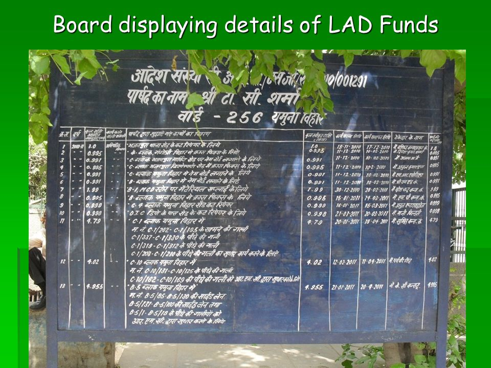 Board displaying details of LAD Funds