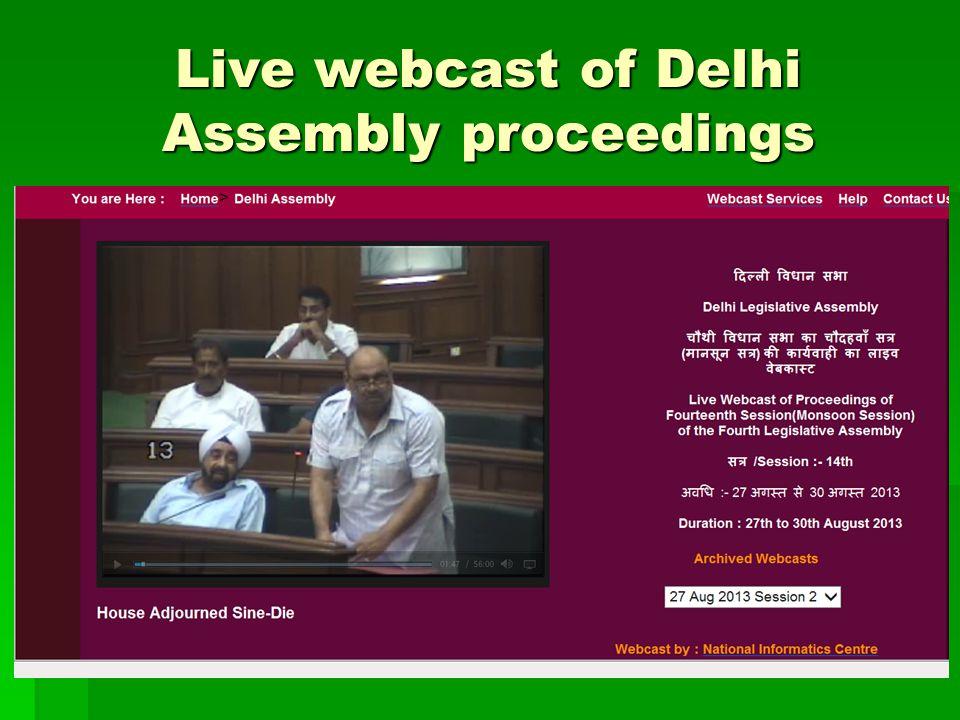 Live webcast of Delhi Assembly proceedings