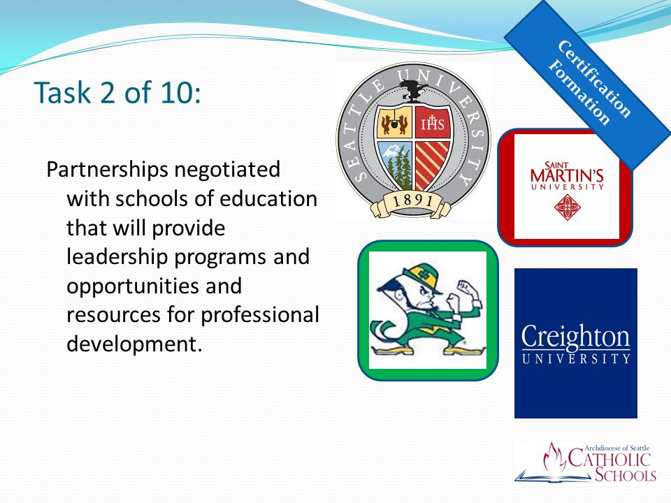 Task 2 of 10: Partnerships negotiated with schools of education that will provide leadership programs and opportunities and resources for professional development.