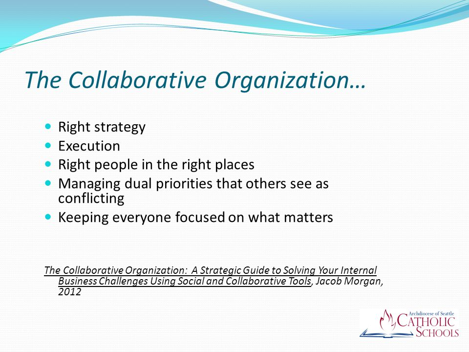 The Collaborative Organization… Right strategy Execution Right people in the right places Managing dual priorities that others see as conflicting Keeping everyone focused on what matters The Collaborative Organization: A Strategic Guide to Solving Your Internal Business Challenges Using Social and Collaborative Tools, Jacob Morgan, 2012