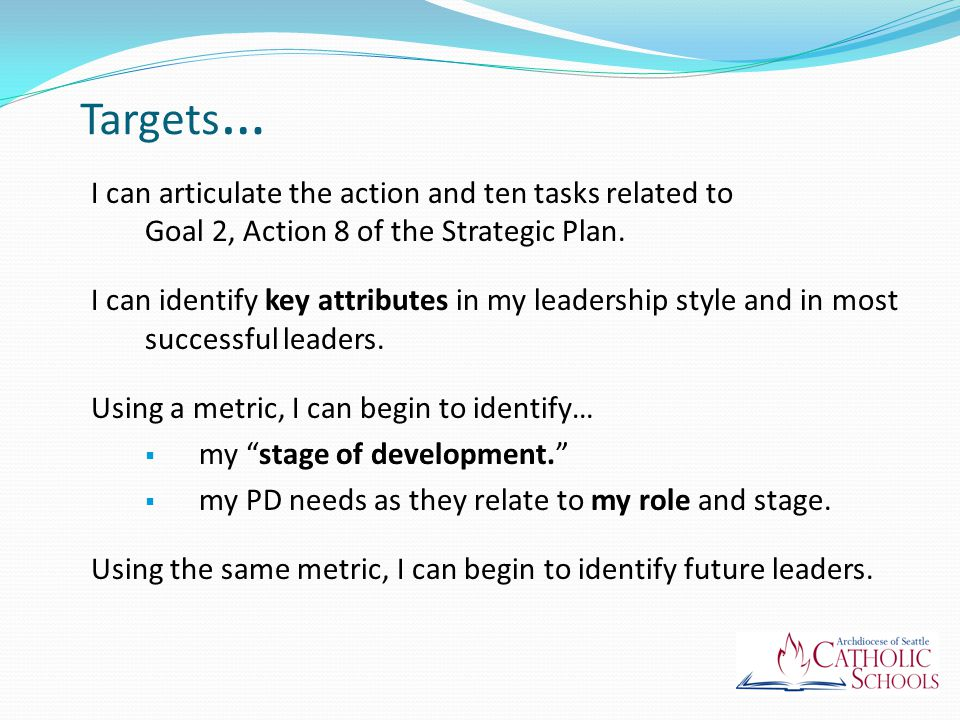 Task 1 of 10: Establish (coordinate resources) Comprehensive PD Leadership / Faith Development Common goals and local needs Including opportunities for Teachers Canonically Appointed Leaders Administrators School Commissioners