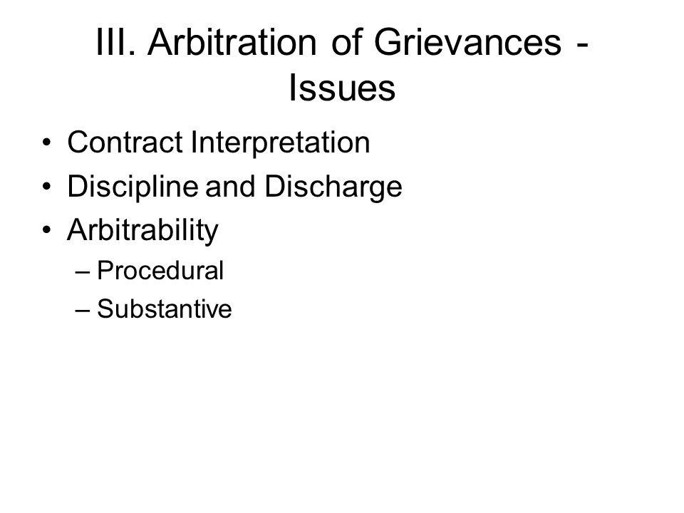 III. Arbitration of Grievances - Issues Contract Interpretation Discipline and Discharge Arbitrability –Procedural –Substantive