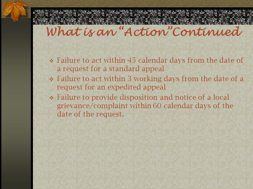 What is an Action Continued  Failure to act within 45 calendar days from the date of a request for a standard appeal  Failure to act within 3 working days from the date of a request for an expedited appeal  Failure to provide disposition and notice of a local grievance/complaint within 60 calendar days of the date of the request.