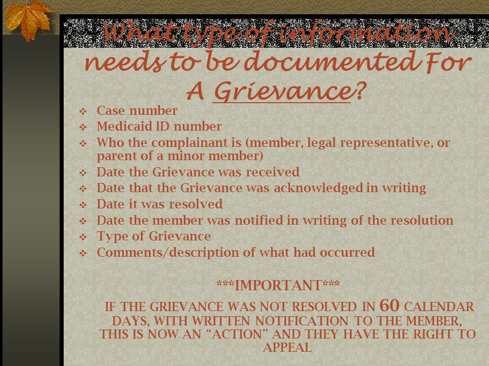 What type of information needs to be documented For A Grievance.