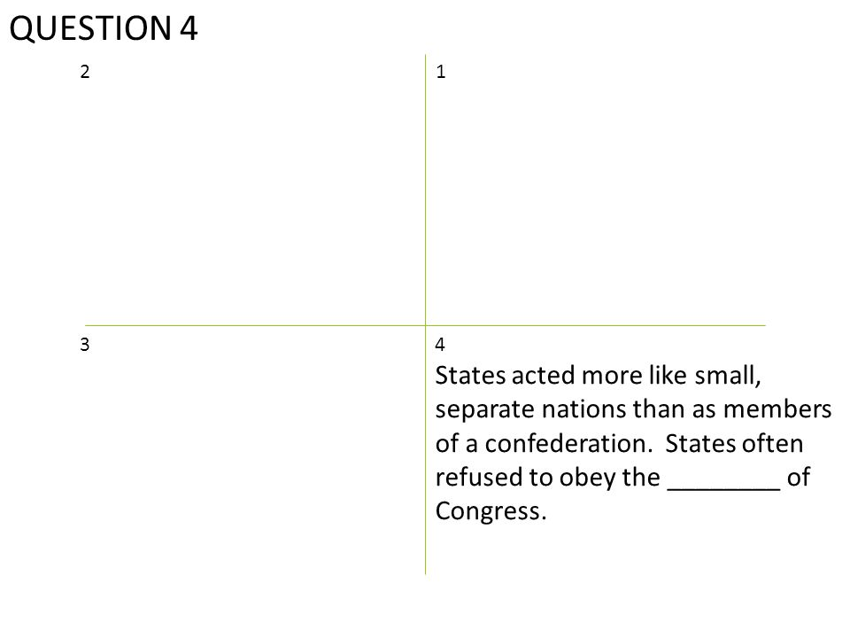 QUESTION 4 12 4 States acted more like small, separate nations than as members of a confederation.