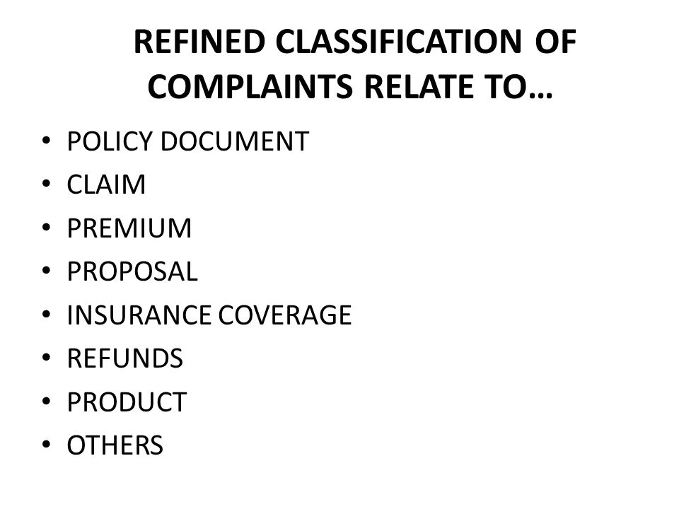 REFINED CLASSIFICATION OF COMPLAINTS RELATE TO… POLICY DOCUMENT CLAIM PREMIUM PROPOSAL INSURANCE COVERAGE REFUNDS PRODUCT OTHERS