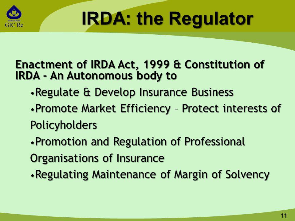 11 IRDA: the Regulator Enactment of IRDA Act, 1999 & Constitution of IRDA - An Autonomous body to Regulate & Develop Insurance Business Regulate & Dev