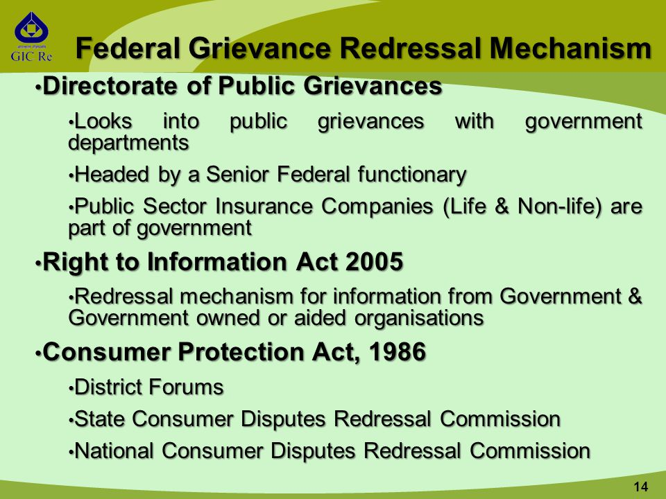 14 Federal Grievance Redressal Mechanism Directorate of Public Grievances Directorate of Public Grievances Looks into public grievances with government departments Looks into public grievances with government departments Headed by a Senior Federal functionary Headed by a Senior Federal functionary Public Sector Insurance Companies (Life & Non-life) are part of government Public Sector Insurance Companies (Life & Non-life) are part of government Right to Information Act 2005 Right to Information Act 2005 Redressal mechanism for information from Government & Government owned or aided organisations Redressal mechanism for information from Government & Government owned or aided organisations Consumer Protection Act, 1986 Consumer Protection Act, 1986 District Forums District Forums State Consumer Disputes Redressal Commission State Consumer Disputes Redressal Commission National Consumer Disputes Redressal Commission National Consumer Disputes Redressal Commission