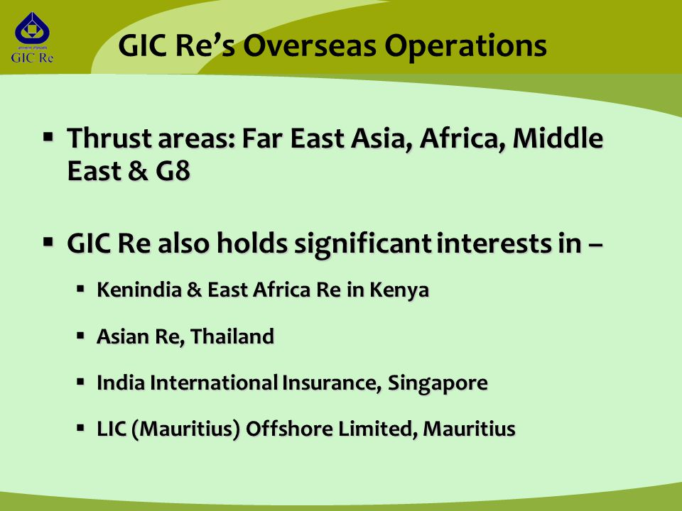  Thrust areas: Far East Asia, Africa, Middle East & G8  GIC Re also holds significant interests in –  Kenindia & East Africa Re in Kenya  Asian Re, Thailand  India International Insurance, Singapore  LIC (Mauritius) Offshore Limited, Mauritius GIC Re's Overseas Operations