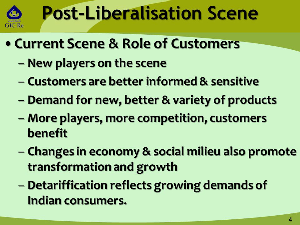 Post-Liberalisation Scene Current Scene & Role of CustomersCurrent Scene & Role of Customers –New players on the scene –Customers are better informed & sensitive –Demand for new, better & variety of products –More players, more competition, customers benefit –Changes in economy & social milieu also promote transformation and growth –Detariffication reflects growing demands of Indian consumers.