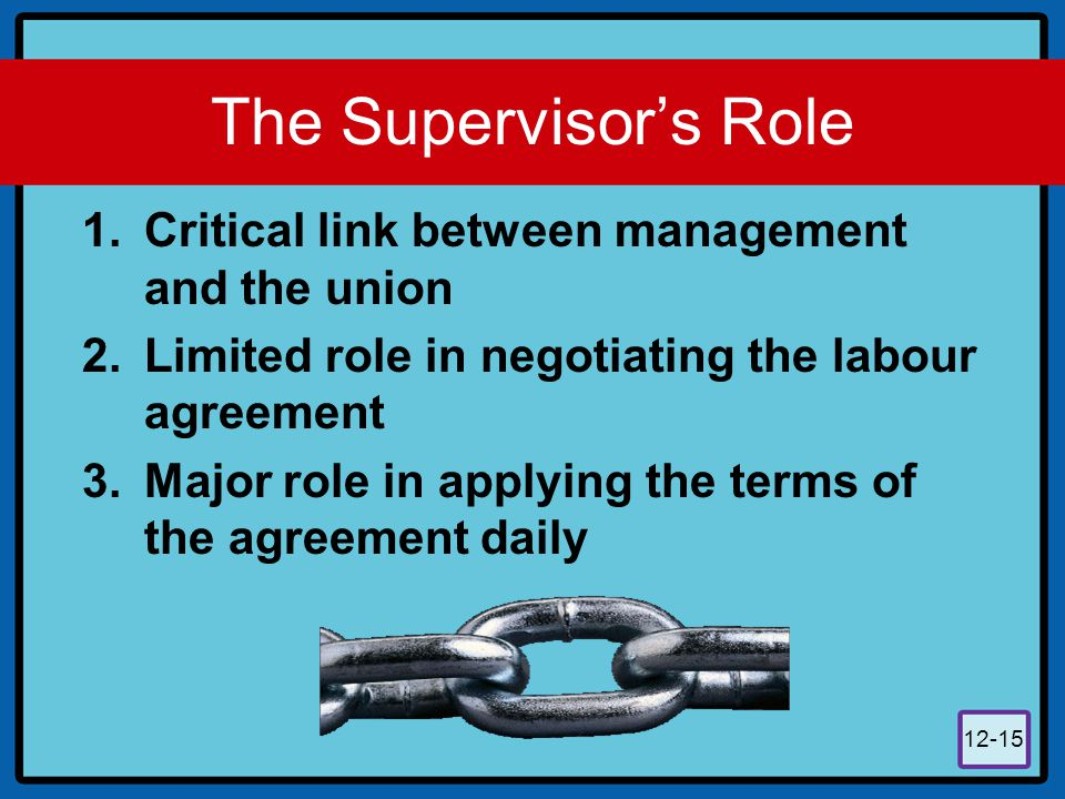 12-15 The Supervisor's Role 1.Critical link between management and the union 2.Limited role in negotiating the labour agreement 3.Major role in applyi